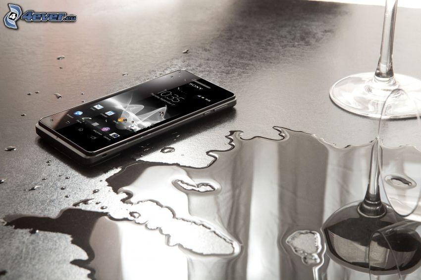 cellulare, acqua, Sony
