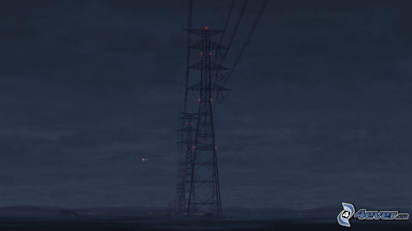 elettrodotto, notte