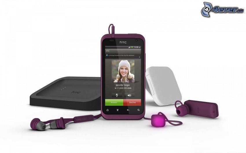 HTC, cellulare, cuffie