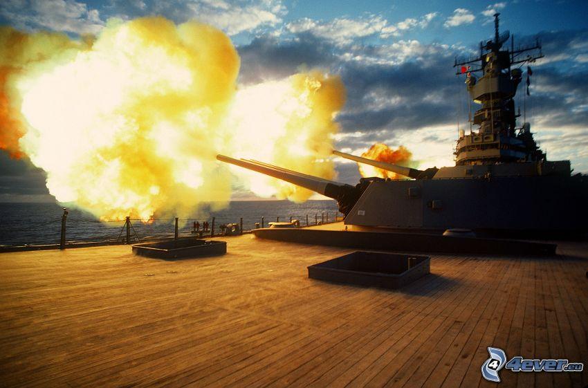 colpo, nave da guerra, cannoni, fuoco, acqua, nuvole