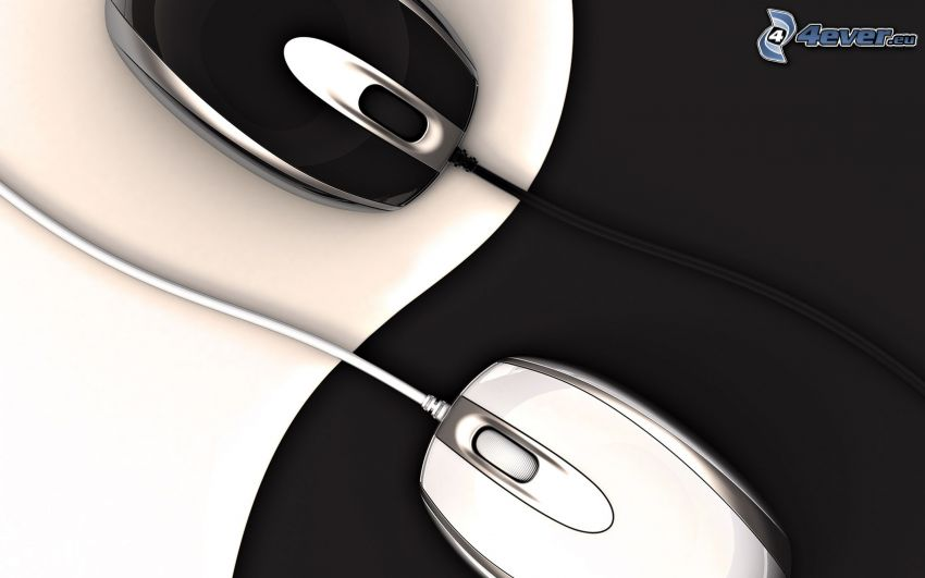 mouse, bianco e nero, yin yang