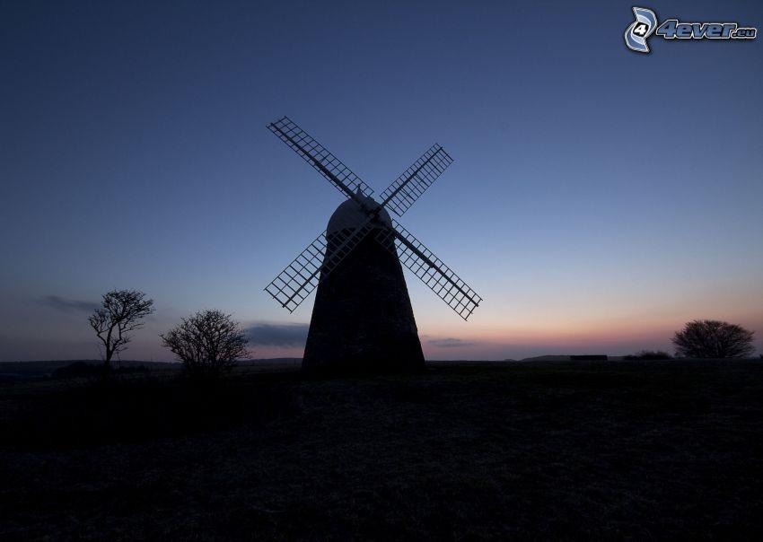 mulino a vento, sera, silhouette