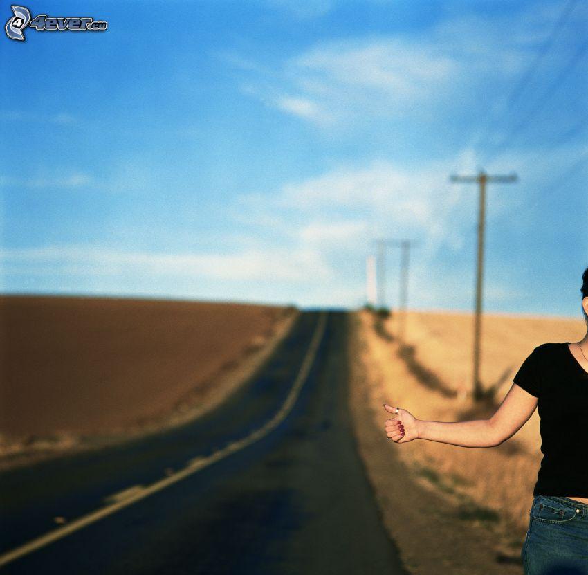 autostop, avventura, strada diritta
