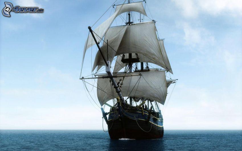 barca a vela, mare, cielo