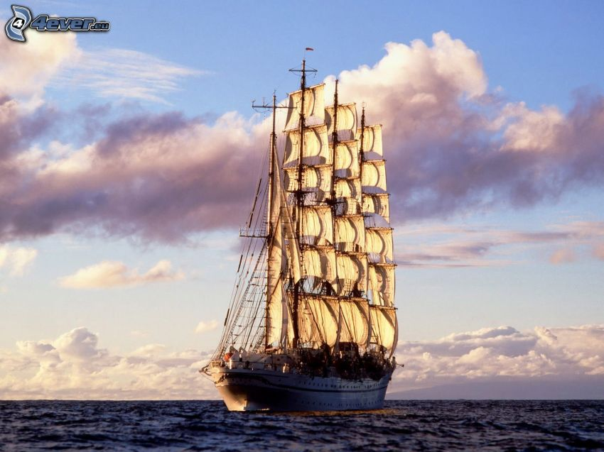 barca a vela, mare, nuvole