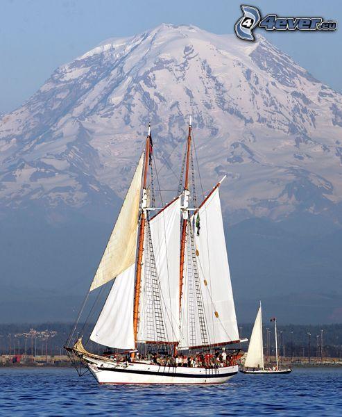 barca a vela, nave, mare, monte innevato