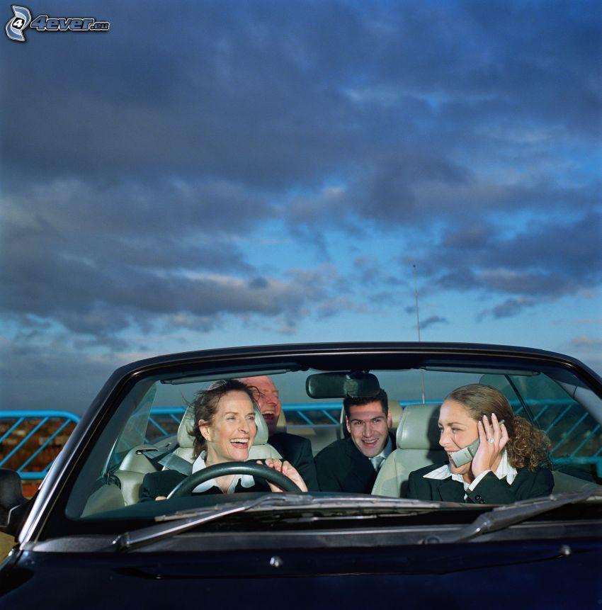 gente, cabriolet, viaggiare, nuvole