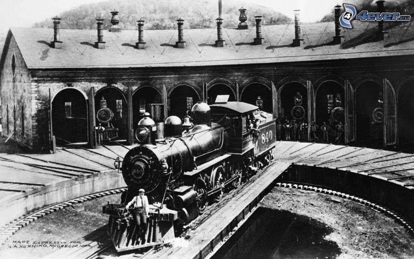 locomotiva a vapore, foto in bianco e nero
