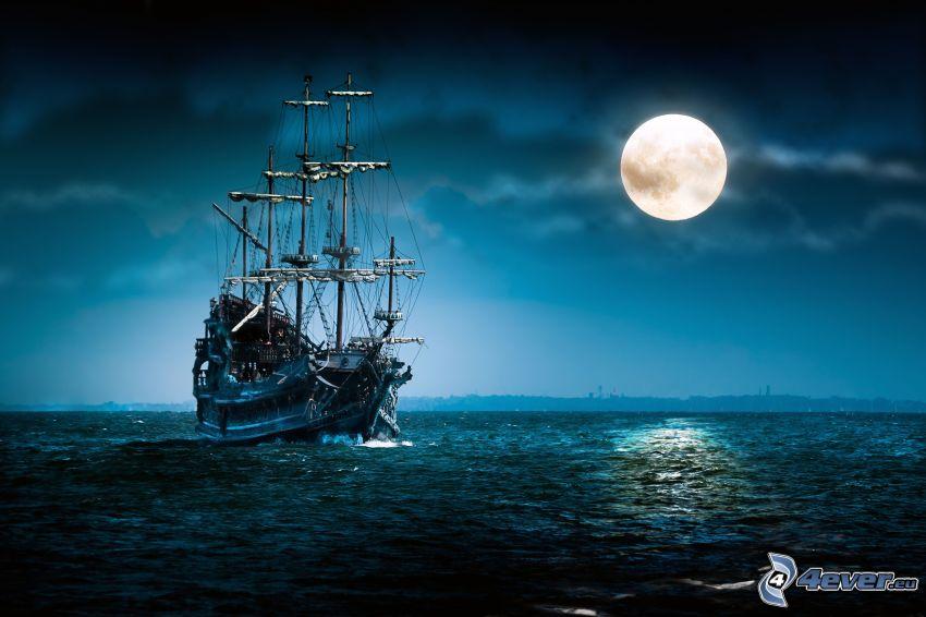 olandese Volante, barca a vela, nave, luna, luna piena, mare oscuro