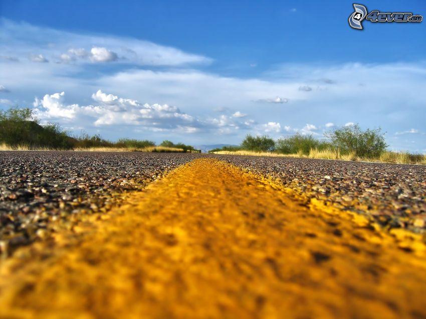 strada, cielo, nuvole
