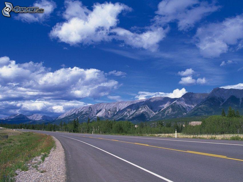 strada, montagne, nuvole, curva
