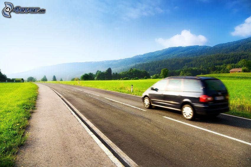 strada, viaggiare, Volkswagen Sharan, colline