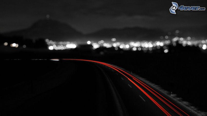 Strada di notte, luci