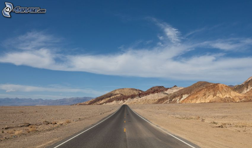 strada diritta, deserto, montagna