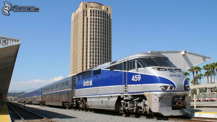 Amtrak, treno, stazione ferroviaria, grattacielo