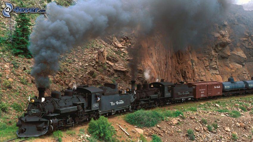 locomotiva a vapore, miniera pietre