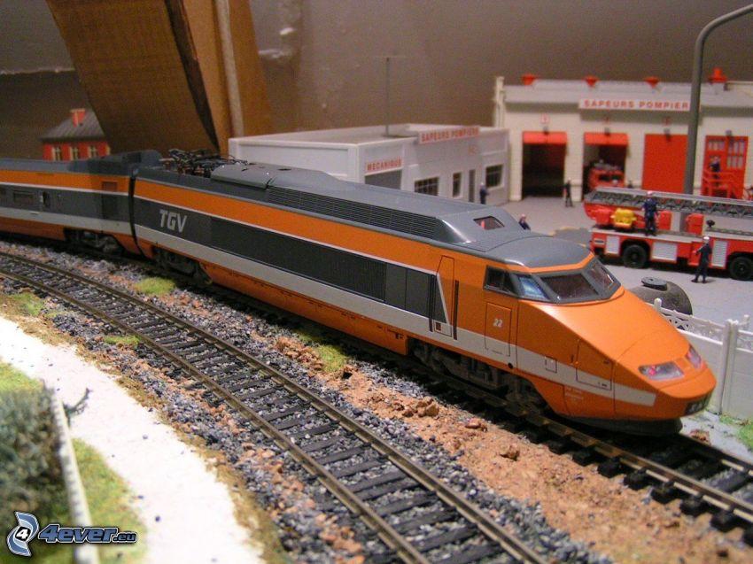 TGV, ferrovia, pompieri, model