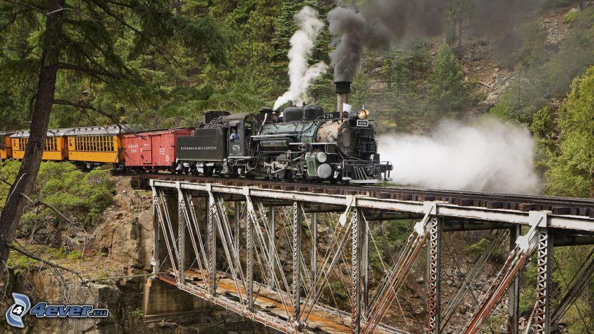 treno a vapore, ponte di ferro