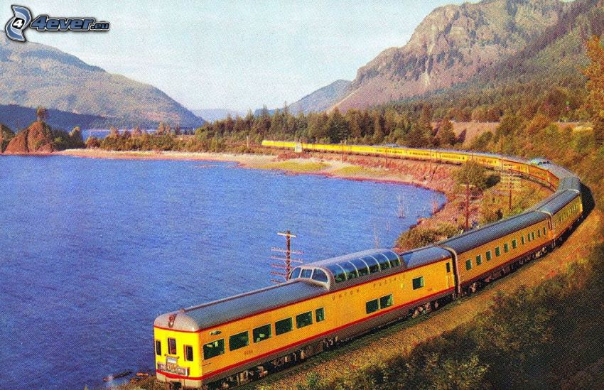 Union Pacific, treno, lago, montagne
