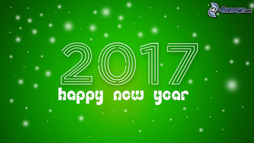 2017, Felice anno nuovo, happy new year, sfondo verde