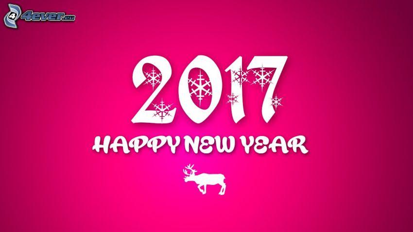 2017, happy new year, Felice anno nuovo, renna, sfondo rosa