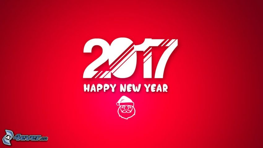 2017, happy new year, Felice anno nuovo, Santa Claus, sfondo rosso