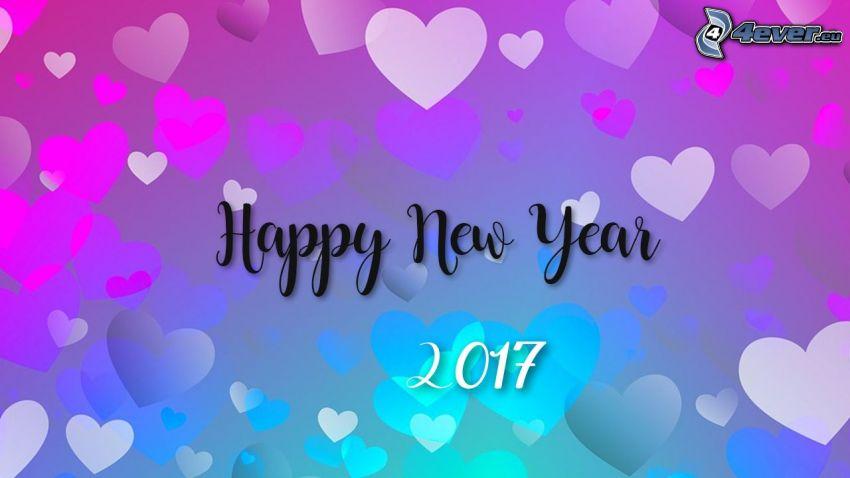 Felice anno nuovo, happy new year, 2017, cuori