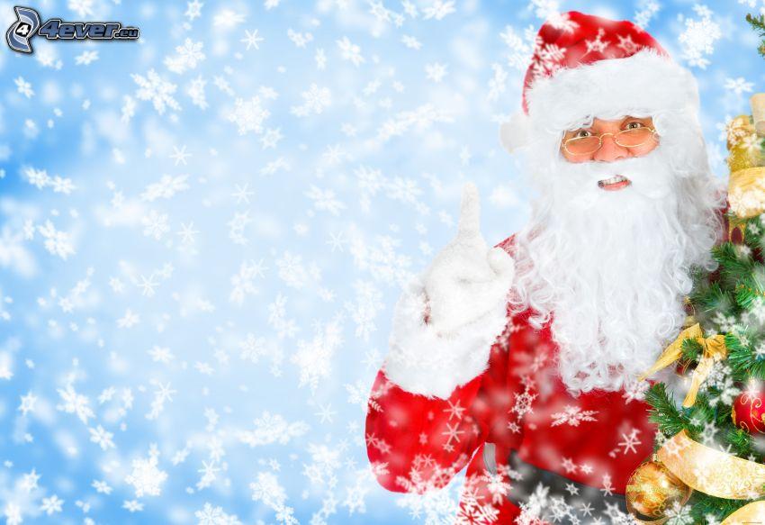 Babbo Natale, albero di Natale, fiocchi di neve