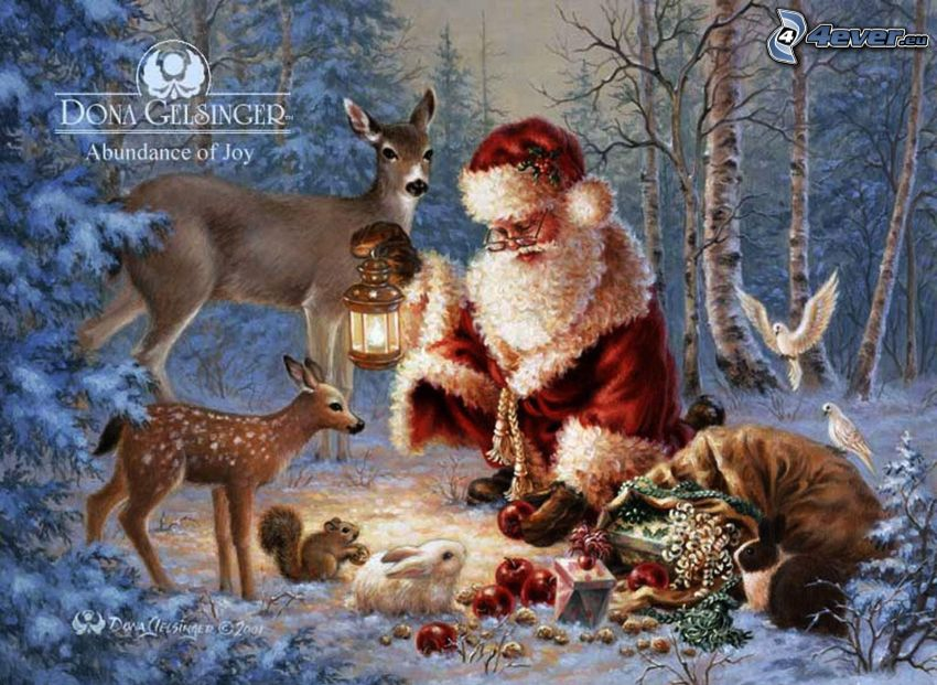Babbo Natale, animali, foresta, regali