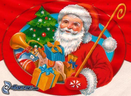 Babbo Natale, natale, regali, albero di Natale