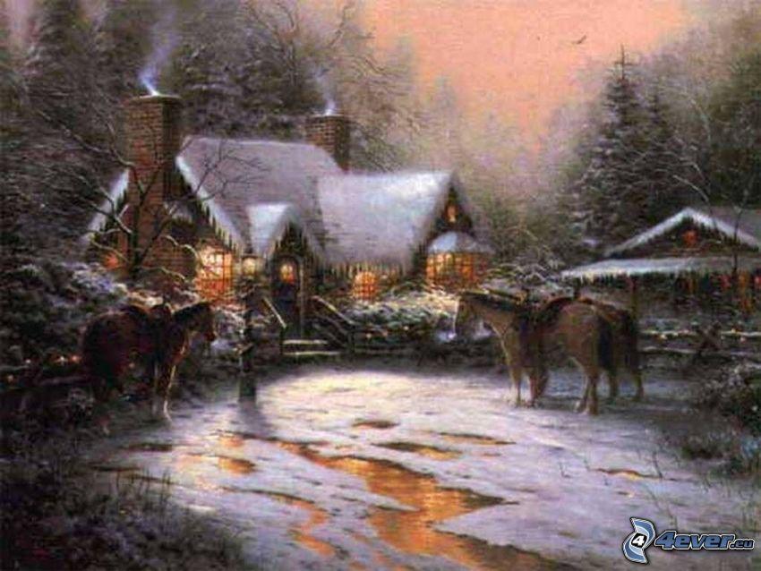 casa nevosa, casa del fumetto, neve, strada, cavalli, Thomas Kinkade