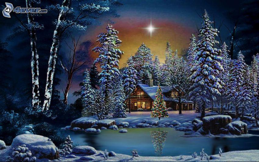 chalet coperto di neve, alberi coperti di neve, albero di Natale, il fiume, riflessione, stella, notte, cartone animato