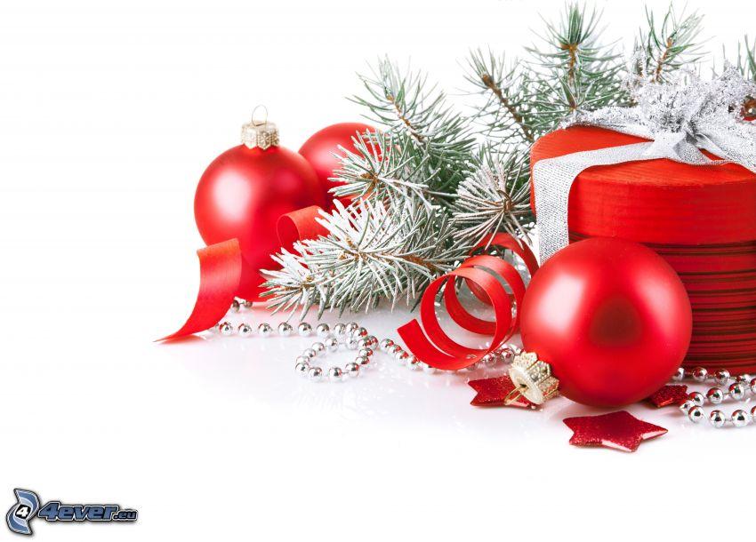 decorazione di Natale, palle di Natale, ramoscello