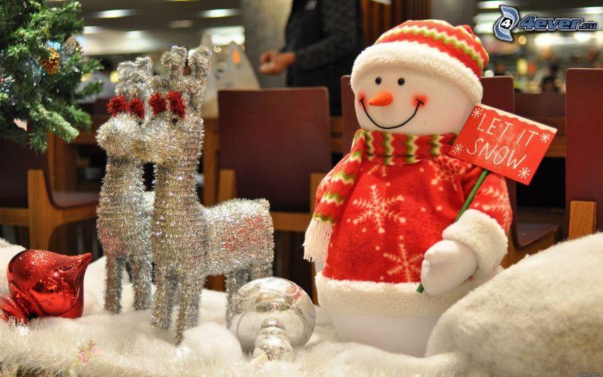 decorazione di Natale, pupazzo di neve, renne