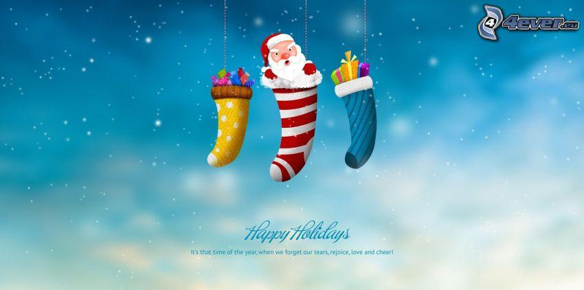 Happy Holidays, Santa Claus, calzini