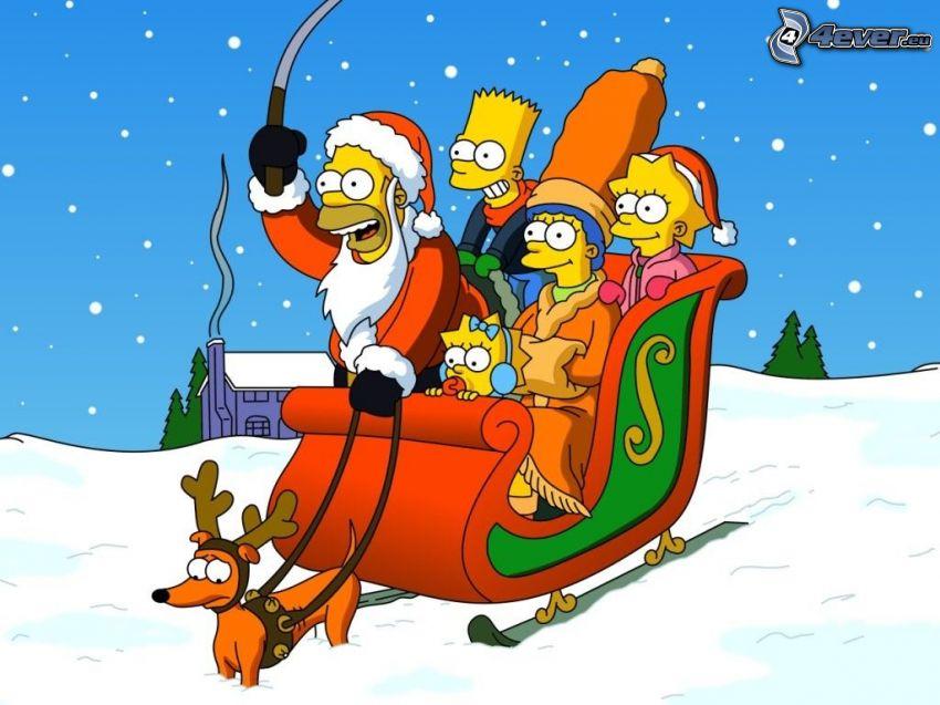 I Simpson, natale, neve, slitta