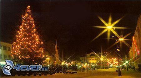 Mercatino di Natale, città, albero di Natale