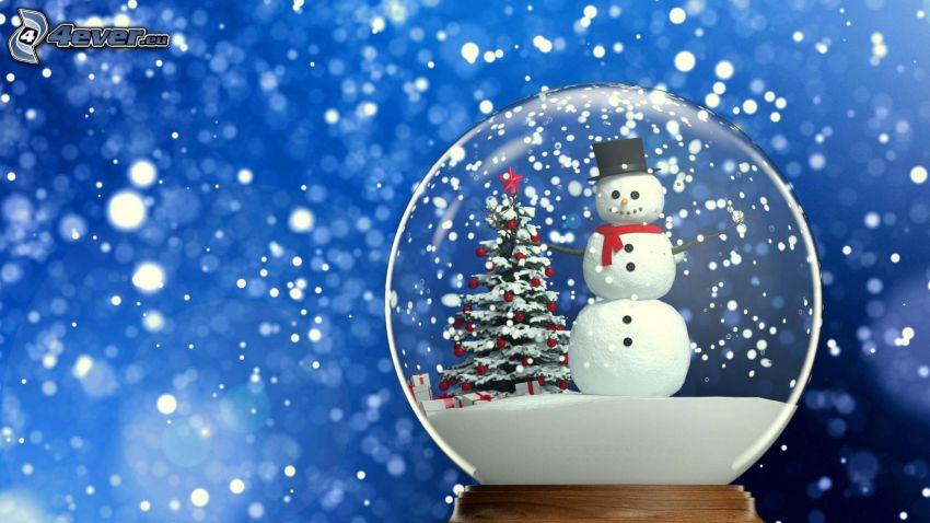 palla, pupazzo di neve, albero di Natale, sfondo blu