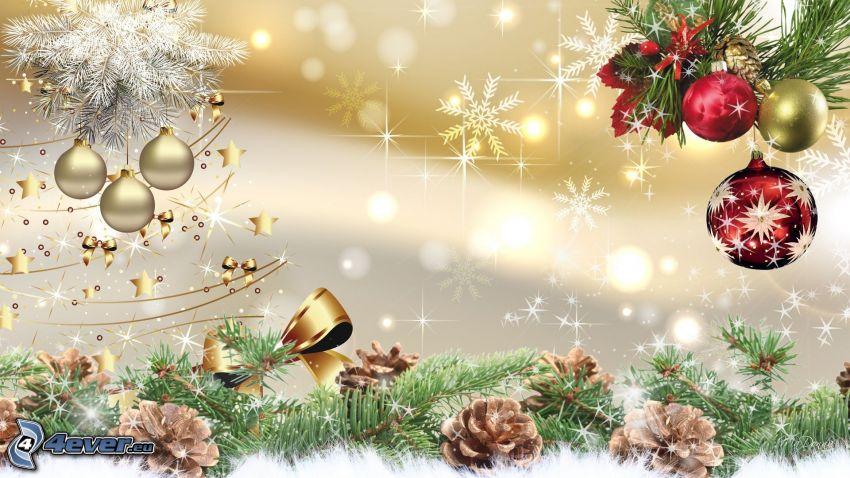 palle di Natale, coni di albero, fiocchi di neve, ramoscello
