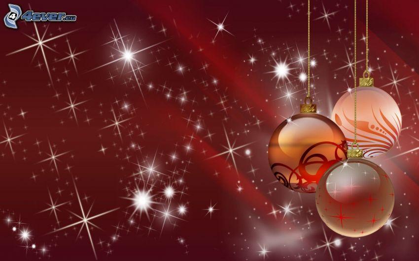 palle di Natale, luci, sfondo rosso