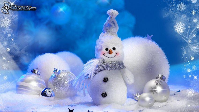 pupazzo di neve, palle di Natale