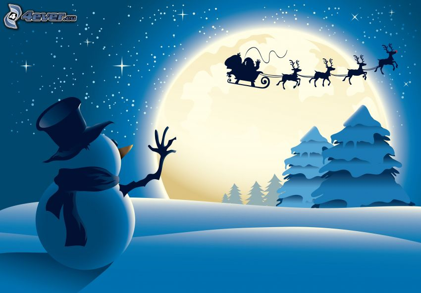 pupazzo di neve, Santa Claus, renne, alberi coperti di neve, saluto, luna