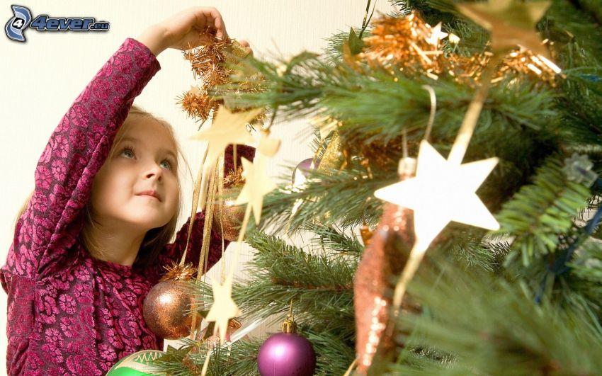 ragazza, albero di Natale, decorazioni di natale