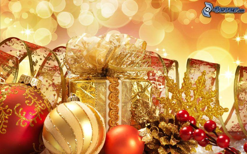 regalo, palle di Natale, nastro