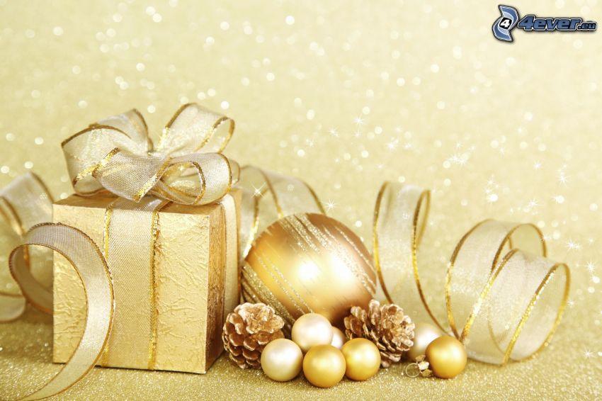 regalo, Pallina di Natale, coni di albero, nastro