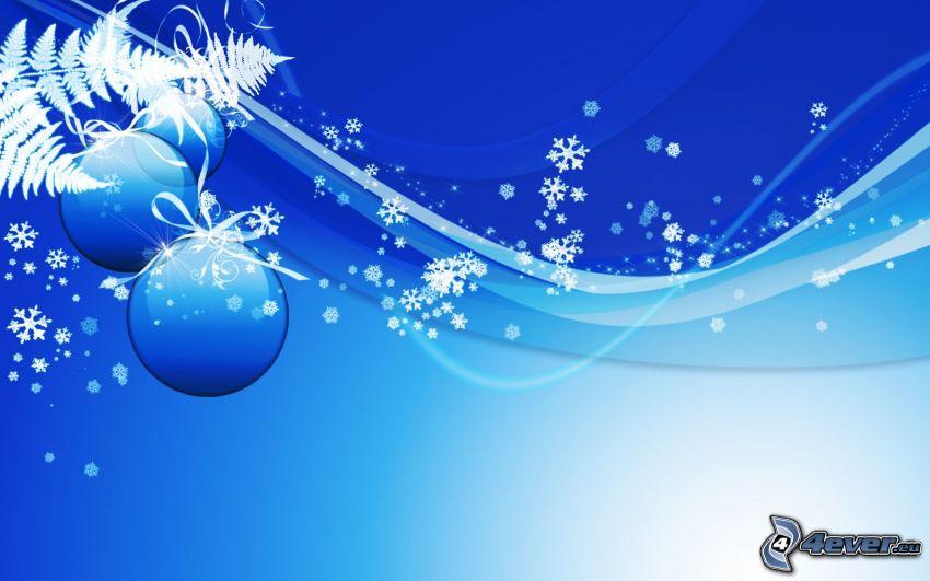 sfondo natalizio, palle di Natale, fiocchi di neve