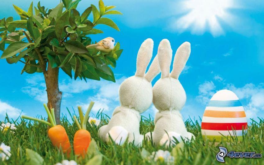 coniglietti pasquali, uova dipinte, carote, bonsai, albero, prato