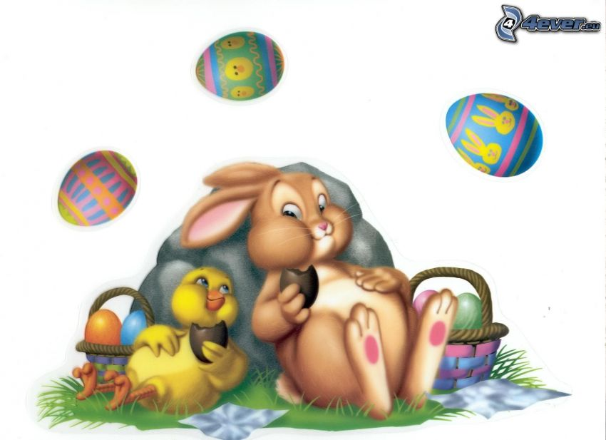 coniglietto pasquale, uova di pasqua, pulcino