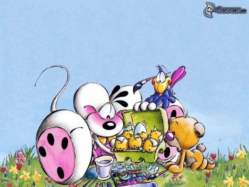 Diddl, uova di pasqua, uccello, prato