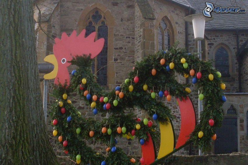 gallo, chiesa, palloncini